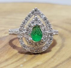1.15ct NATURAL DIAMOND EMERALD 14K WHITE GOLD ENGAGEMENT RING  #Sk_Jewels #Cocktail #Engagement