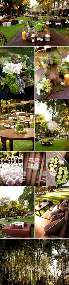 Rustic woodland garden party wedding decor