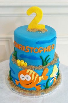 Bubble Guppies!  Buttercream iced cakes with fondant details