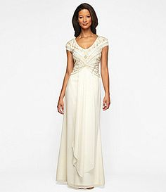 Style:  beading. Alex Evenings Beaded Bodice Gown #Dillards Alex Evenings Beaded Bodice Gown  $260.00  PRINT  email  Tweet  Share  Pin It       Item #03982608  Be the first to write a review  Add To Bag  size:  Select  color:  Ivory    Qty:  1  Size Chart ►	  Add to Registry Add to Wish List  Description:  From Alex Evenings, this women's dress features:        scoop neckline      intricately beaded bodice      cap sleeves      cascade detail skirt      ivory polyester
