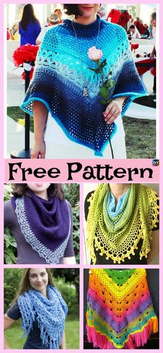 The projects that we will be showing you today are these very beautiful crocheted shawls, all of them have really pretty designs! Crochet Sweaters, Crochet Scarves, Crochet Shawl, Free Crochet, Knit Crochet, Crochet Dresses, Crochet Clothes, Crochet Scarf Tutorial, Knitting Patterns