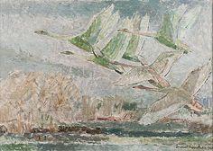 LENNART SEGERSTRÅLE,LENTÄVIÄJOUTSENIA. - Bukowskis Bukowski, Swan, December, Auction, Painting, Design, Art, Craft Art, Swans