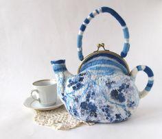 Felted teapot purse Blue white flower Blue teapot от galafilc