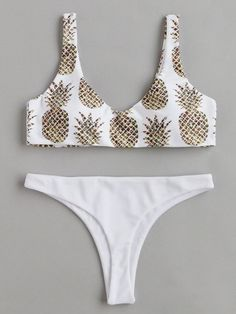 Pineapple Print Beach Bikini Set -SheIn(Sheinside)