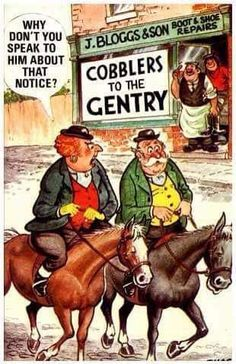 cobblers to the gentry Funny Postcards, Adult Humor, Seaside, Jokes, Baseball Cards, Comics, Campfires, Cartoons, Nature