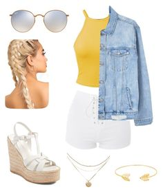 """""""Summer Vibes"""" by leahashlynxox on Polyvore featuring Topshop, Yves Saint Laurent, MANGO, Ray-Ban and Lord & Taylor"""