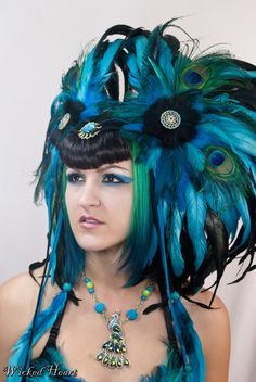 Peacock Headdress- Custom Order on Etsy, $325.00