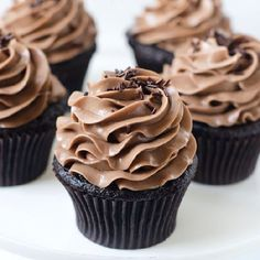 One Bowl Chocolate Cupcakes with Nutella Swiss Meringue Buttercream Frosting.