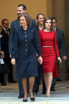Queen Sofia of Spain with the Prince Felipe and Letizia of Asturia host the Spanish National Sports Awards Dec. 2, 2013