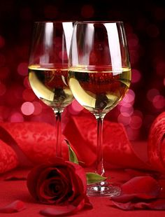A Fine Romance - Red rose and white wine. Share a romantic moment with someone special.