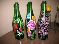 Wine bottles painted with acrylic...