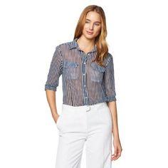 Gant Women's Striped Georgette Shirt Classic Blue