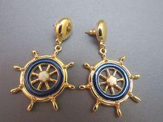 AVON Earrings Ship to Shore Nautical Navy Blue Enamel Gold Plated Pierced Wheel #Avon #Post