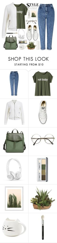 """Без названия #134"" by lena-volodivchyk ❤ liked on Polyvore featuring Miss Selfridge, Object Collectors Item, Converse, Skagen, Clinique, Wilder California, Forever 21, ZOEVA and too cool for school"