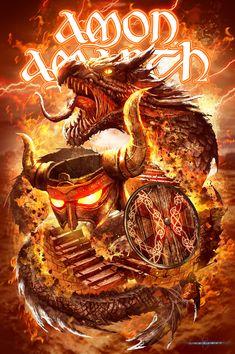 Amon Amarth official Summer Tour T-shirt Amon Amarth, Viking Metal, Heavy Metal Rock, Heavy Metal Bands, Power Metal, Music Artwork, Metal Artwork, Thrash Metal, Rock Y Metal