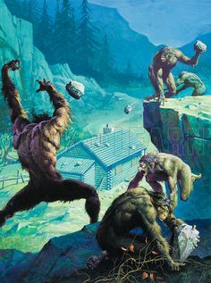 Bigfoot (Original) (Signed) art by Severino Baraldi Possibly the ape canyon story? Fantasy Beasts, Fantasy Art, Fantasy Creatures, Mythical Creatures, Man Ape, Bigfoot Pictures, Bigfoot Sasquatch, Bigfoot Toys, Bigfoot Movies