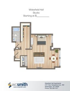 Studio/Efficiency Floor Plan | Wakefield Hall in Northwest Washington DC | WC Smith Apartments | U Street Rentals