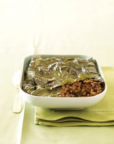 If you like stuffed grape leaves, you'll love this casserole, which has all the flavors of the bite-size appetizers without all the rolling. Recipe from Vegetarian Times. Vegetarian Times, Vegan Vegetarian, Vegetarian Recipes, Cooking Recipes, Healthy Recipes, Vegetarian Options, What's Cooking, Healthy Cooking, Healthy Foods