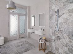 Walk into a bathroom tiled in concrete tiles and you automatically feel welcomed. When looking for concrete bathroom tiles, you will find a range of styles and colours. Bathroom Tile Designs, Bathroom Floor Tiles, Wall And Floor Tiles, Bathroom Colors, White Bathroom, Bathroom Wall, Wall Tiles, Small Bathroom, Bathroom Ideas