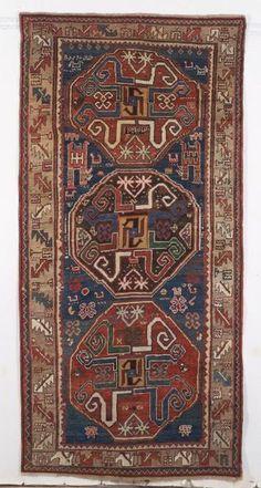Kazak Rug, Southwest Caucasus, late 19th century, 8 ft. 9 in. x 4 ft. 4 in.   Skinner Auctioneers Sale 2347