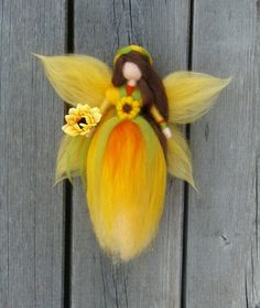 BUTTERFLY FAIRY MOBILE needle Felted Wool Doll by Holichsmir