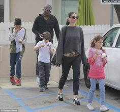 Blended brood: His 10-year-old son Henry (L) with ex-wife Heidi Klum was there, alongside her six-year-old son Jackson (M) and seven-year-old daughter Indigo (R) with estranged husband James Packer