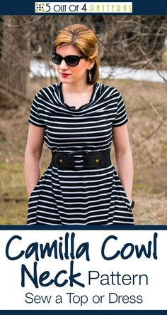 Our Camilla Cowl Neck Top or Dress pattern is the perfect addition to any wardrobe. This easy-to-sew pattern can be dressed up or down and the neckline is flattering on all body types. Sew Pattern, Tunic Pattern, Clothing Patterns, Dress Patterns, Sewing Patterns, Sewing Ideas, Sewing Projects, Cowl Neck Dress, Cowl Neck Top