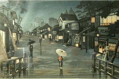 Saito Hodo- Nishimura Hodo: Country Town at Night — 夜の田舎町