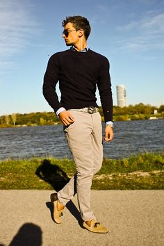 Tommy Hilfiger Sweater, Gucci Belt, Michael Kors Watch, Tommy Hilfiger Chinos, Zara Loafers, Tom Ford Sunglasses