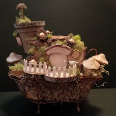 OOAK Fairy House: Rub A Dub by BirchTreeFairyHouses on Etsy