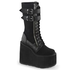 Women's Demonia Swing-221 Platform Knee Boot Black 6