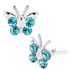 Pugster Diomand Earrings Aquamarine Blue Gemstone Butterfly Stud: Pugster Diomand Earrings Aquamarine Blue… #CheapJewelry #DesignerJewelry