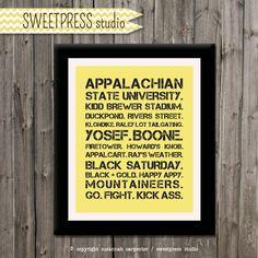 Appalachian State Print - Boone, NC Printable Subway Art. $12.00, via Etsy.