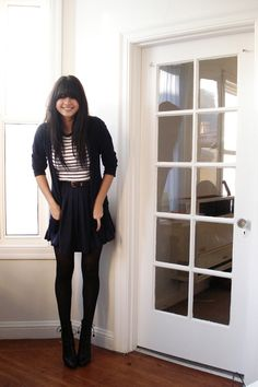 cardigan, striped tee, pleated skirt, tights and lace up ankle boots simple but cute