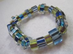 Blue and yellow bracelet. Furnace glass jewelry. by ArtsParadis, $10.00 #handmade #bracelet #jewelry #furnaceglass #blue #yellow #funky #chunky