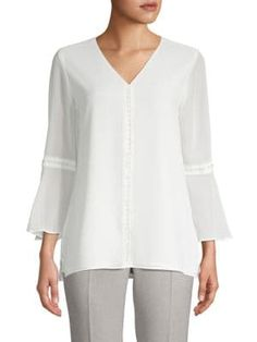 Calvin Klein Collection Embellished Bell-sleeve Blouse In Soft White Bell Sleeve Blouse, Bell Sleeves, Calvin Klein Collection, Tunic Tops, How To Wear, Clothes, Shopping, Women, Style