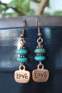 Wire wrapped jewelry, handmade, copper earrings