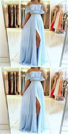 A-Line Off the Shoulder Split Front Blue Chiffon Prom Dress with Beading Belt so. - - A-Line Off the Shoulder Split Front Blue Chiffon Prom Dress with Beading Belt sold by Fantasy on Storenvy Source by Cute Prom Dresses, Ball Dresses, Elegant Dresses, Pretty Dresses, Sexy Dresses, Wedding Dresses, Chiffon Prom Dresses, Casual Dresses, Awesome Dresses