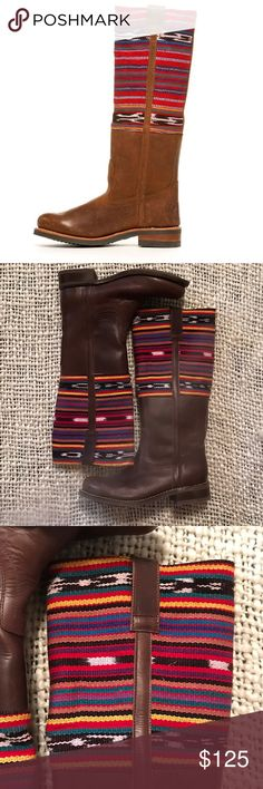 """Ashbury Skies 2568 Chiquita leather Aztec boot 7.5 These boots are absolutely spectacular. Worn one time so they are like new. Chiquita 2568 boots brown leather size 7.5. Heel to top of shaft measures 16"""". Made in Romania. Ashbury Skies Shoes"""