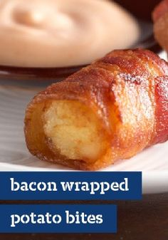 Bacon-Wrapped Potato Bites – Fact: Bacon-wrapped anything will please any party-goer—from football fans to dinner party guests. Bonus: These are easy, made with frozen potato nuggets. Finger Food Appetizers, Appetizers For Party, Appetizer Recipes, Snack Recipes, Cooking Recipes, Snacks, Finger Foods, Bacon Wrapped Potatoes, Potato Bites