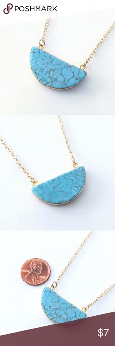 "Gold-plated turquoise howlite half moon necklace CLOSET CLOSING CLEARANCE!  All prices are firm; no additional offers accepted.  I'm earning no profits, just liquidating everything before moving abroad.  I'm listing as many items as I can as quickly as I'm able, but things are selling fast, so grab your faves while you can!    Nickel and lead free.  About 19.5"" long. Jewelry Necklaces"