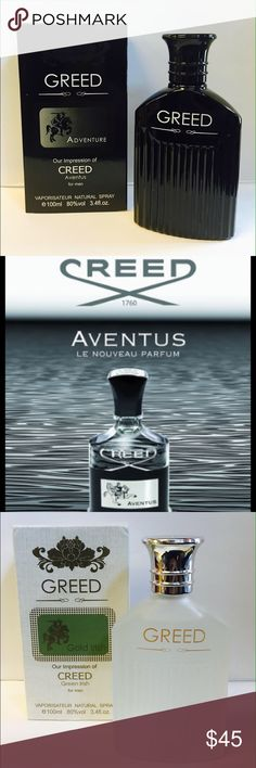 Bundle Deal: Versions of Creed Cologne Bundle Deal! Both bottles for just $45! Big 3.4oz size bottles. Very High Quality versions Of Creed Aventus and Creed Irish Green Tweed Cologne. The same great scent for more than half the retail price. Awesome deal! Paris Fragrance Accessories