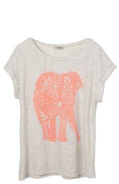 Light Grey Short Sleeve Pink Elephant Print Loose T-Shirt #elephant #pink