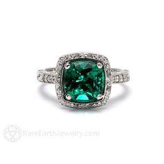 Art Deco Engagement Ring Emerald Ring Cushion Diamond от RareEarth