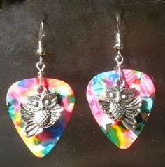Flying Owl Guitar Pick Earrings - Your Choice of 12 Colors - Pierced or Clip On