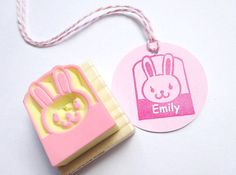Name stamp for your kids Rabbit stamp by JapaneseRubberStamps