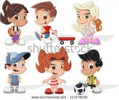 Group of six cute happy cartoon kids by Denis Cristo, via Shutterstock