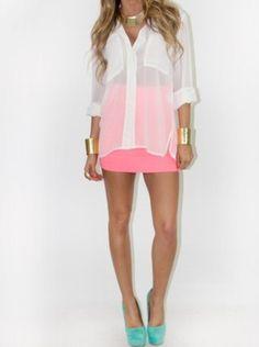 Sheer shirt + neon skirt & heels!