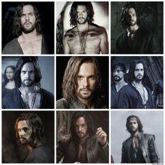 Tom Riley as Leonardo da Vinci in Da Vinci's Demons season 2.  Not sure if I like the long hair, I loved his short hair!