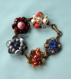 Vintage Upcycled Earring Bracelet Sparkling by mitziscollectibles, $32.00
